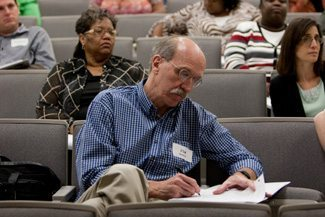 Jim Cannon a 6th grade teacher, takes notes during training in restorative justice practices and in the proper ways to implement the Escambia County Alternatives to Zero-tolerance Program.